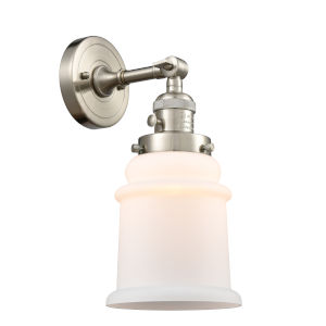 Canton Brushed Satin Nickel One-Light Wall Sconce with Matte White Glass