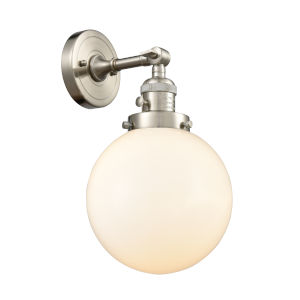Franklin Restoration Brushed Satin Nickel Eight-Inch One-Light Wall Sconce with Matte White Cased Beacon Shade