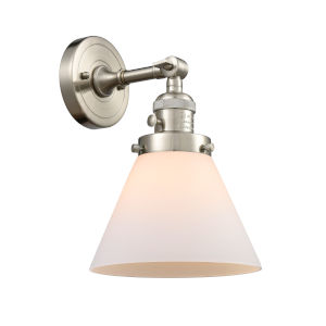 Large Cone Brushed Satin Nickel One-Light Wall Sconce with Matte White Cased Glass