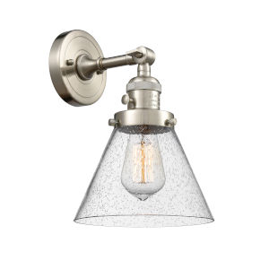 Large Cone Brushed Satin Nickel One-Light Wall Sconce with Seedy Glass