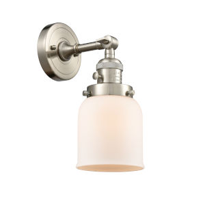 Small Bell Brushed Satin Nickel One-Light Wall Sconce with Matte White Cased Glass