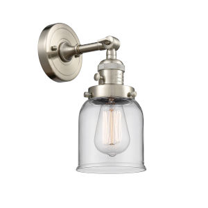 Small Bell Brushed Satin Nickel One-Light Wall Sconce with Clear Glass