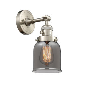Small Bell Brushed Satin Nickel One-Light Wall Sconce with Smoked Glass
