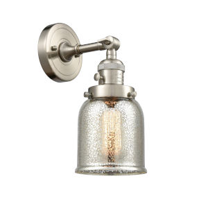 Small Bell Brushed Satin Nickel One-Light Wall Sconce with High-Low Off Switch