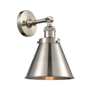 Appalachian Brushed Satin Nickel One-Light Wall Sconce High-Low Off Switch
