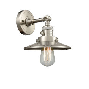 Franklin Restoration Brushed Satin Nickel Eight-Inch One-Light Wall Sconce with Railroad Brushed Satin Nickel Metal Shade