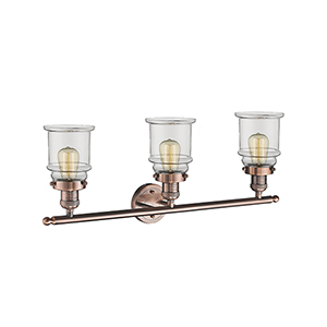 Canton Antique Copper Three-Light LED Bath Vanity with Clear Bell Glass