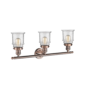 Canton Antique Copper Three-Light LED Bath Vanity with Seedy Bell Glass