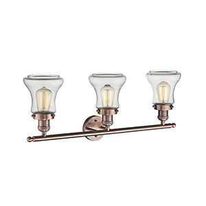Bellmont Antique Copper Three-Light LED Bath Vanity with Clear Hourglass Glass