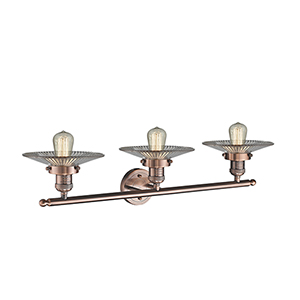 Halophane Antique Copper Three-Light LED Bath Vanity with Halophane Cone Glass