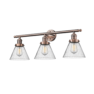 Large Cone Antique Copper Three-Light LED Bath Vanity with Seedy Cone Glass