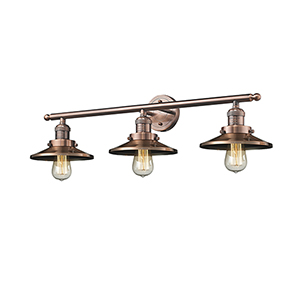 Railroad Antique Copper Three-Light LED Bath Vanity
