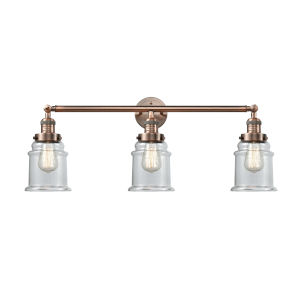 Canton Antique Copper Three-Light LED Bath Vanity with Clear Glass