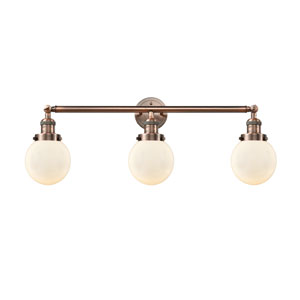 Beacon Antique Copper Three-Light LED Bath Vanity with Six-Inch Matte White Cased Globe Glass