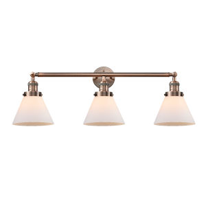 Large Cone Antique Copper Three-Light Bath Vanity with Matte White Cased Glass