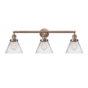 Large Cone Antique Copper Three-Light Bath Vanity with Clear Glass
