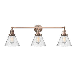 Large Cone Antique Copper Three-Light Bath Vanity