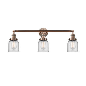 Small Bell Antique Copper Three-Light Bath Vanity with Clear Glass