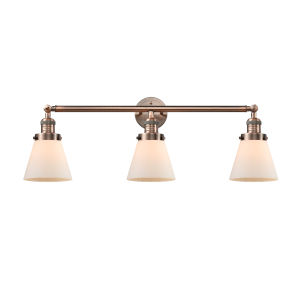 Small Cone Antique Copper Three-Light Bath Vanity with Matte White Cased Glass