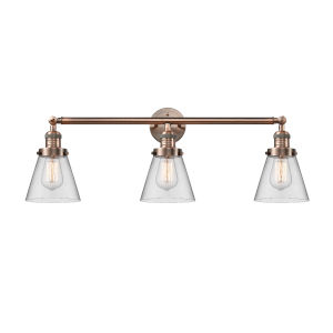 Small Cone Antique Copper Three-Light LED Bath Vanity with Clear Glass
