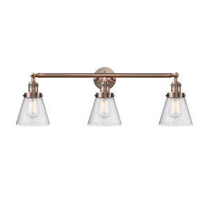 Small Cone Antique Copper Three-Light Bath Vanity