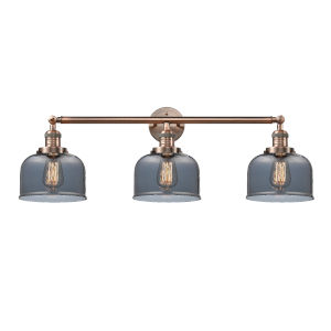 Large Bell Antique Copper Three-Light Bath Vanity with Smoked Glass