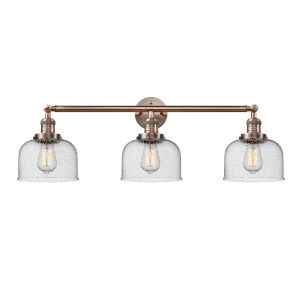 Large Bell Antique Copper Three-Light Bath Vanity