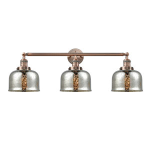 Large Bell Antique Copper Three-Light Adjustable Bath Vanity