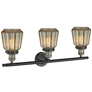 Chatham Black Antique Brass 30-Inch Three-Light LED Bath Vanity with Mercury Fluted Novelty Glass