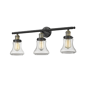 Bellmont Black Antique Brass 30-Inch Three-Light Bath Vanity with Clear Hourglass Glass