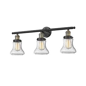 Bellmont Black Antique Brass 30-Inch Three-Light Bath Vanity with Seedy Hourglass Glass