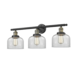 Large Bell Black Antique Brass 32-Inch Three-Light Bath Vanity with Clear Dome Glass