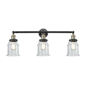 Canton Black Antique Brass Three-Light LED Bath Vanity with Clear Glass