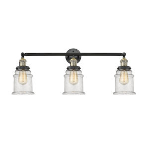Canton Black Antique Brass Three-Light LED Bath Vanity with Seedy Glass