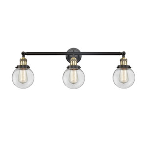 Beacon Black Antique Brass Three-Light Bath Vanity with Six-Inch Clear Globe Glass