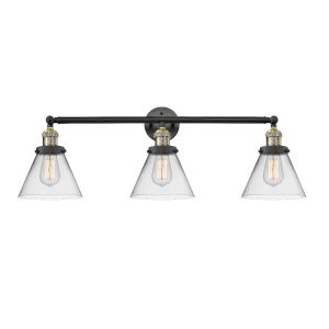 Large Cone Black Antique Brass Three-Light Bath Vanity with Clear Glass