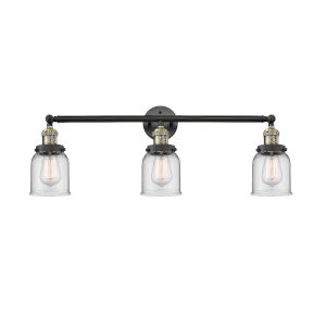 Small Bell Black Antique Brass Three-Light Bath Vanity with Clear Glass