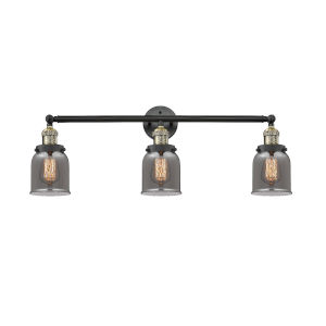 Small Bell Black Antique Brass Three-Light Bath Vanity with Smoked Glass