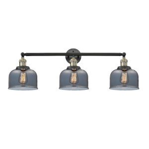 Large Bell Black Antique Brass Three-Light Bath Vanity with Smoked Glass