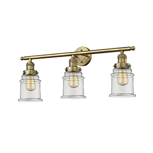Canton Brushed Brass Three-Light LED Bath Vanity with Clear Bell Glass