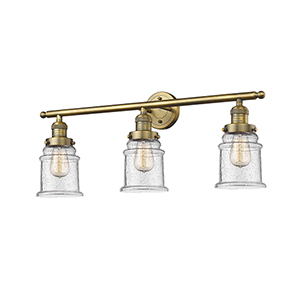 Canton Brushed Brass Three-Light LED Bath Vanity with Seedy Bell Glass
