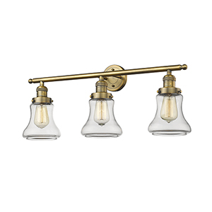Bellmont Brushed Brass Three-Light LED Bath Vanity with Clear Hourglass Glass
