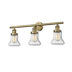 Bellmont Brushed Brass Three-Light LED Bath Vanity with Seedy Hourglass Glass