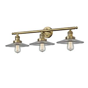 Halophane Brushed Brass Three-Light LED Bath Vanity with Halophane Cone Glass