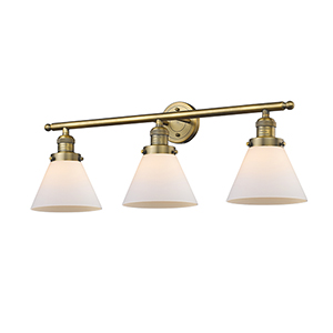 Large Cone Brushed Brass Three-Light LED Bath Vanity with Matte White Cased Cone Glass