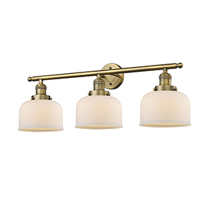Large Bell Brushed Brass Three-Light LED Bath Vanity with Matte White Cased Dome Glass