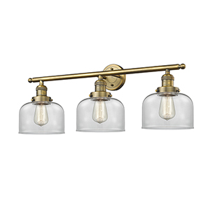 Large Bell Brushed Brass Three-Light LED Bath Vanity with Clear Dome Glass