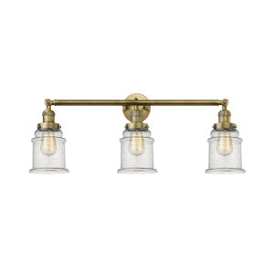 Canton Brushed Brass Three-Light Bath Vanity with Seedy Glass