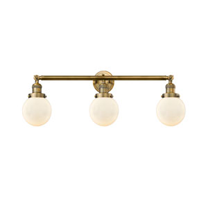 Beacon Brushed Brass Three-Light LED Bath Vanity with Six-Inch Matte White Cased Globe Glass
