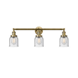 Small Bell Brushed Brass Three-Light Bath Vanity